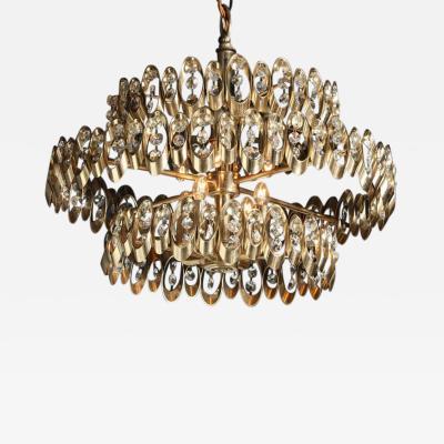 Gaetano Sciolari Gaetano Sciolari Three Tier Brass Pendant with Multi Faceted Drop Crystals