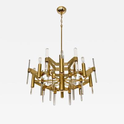 Gaetano Sciolari Gold Plated Brass and Crystal Chandelier by Gaetano Sciolari