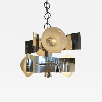Gaetano Sciolari Italian Mid Century Modern Curved 4 Bulb Chrome Chandelier