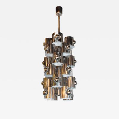 Gaetano Sciolari Italian Mid Century Modern Sculptural Polished Chrome Chandelier by Sciolari