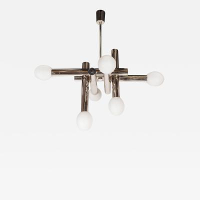 Gaetano Sciolari Italian Mid Century Modern White Glass and Tubular Chrome Chandelier by Sciolari