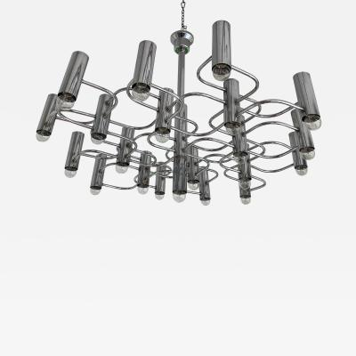 Gaetano Sciolari Large Chandelier Chrome Metal by Sciolari Belgium 1970s