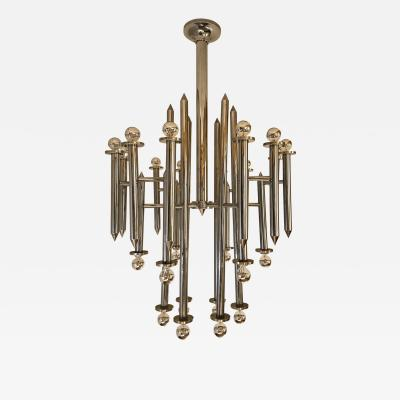 Gaetano Sciolari Large Italian chrome 24 lights chandelier by Sciolari Mid Century Modern 1970s