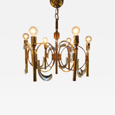 Gaetano Sciolari Mid Century Modern Hollywood Regency Lucite and Brass Chandelier