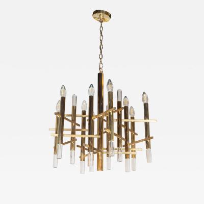 Gaetano Sciolari Mid Century Modern Rectilinear Polished Brass and Lucite Chandelier by Sciolari