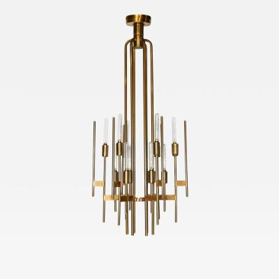 Gaetano Sciolari Mid Century Modern brass 12 lights Chandelier by Gaetano Sciolari 1960s