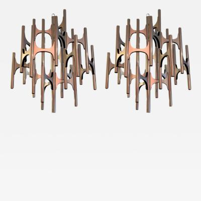 Gaetano Sciolari Pair of 1970s Lightolier Chandeliers Designed by Sciolari