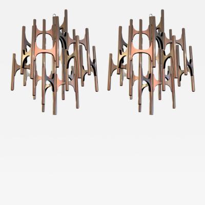Gaetano Sciolari Pair of 1970s Lightolier Chandeliers Designed by Sciolari