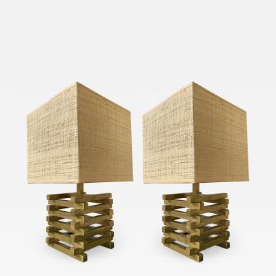 Gaetano Sciolari Pair of Brass Cage Lamps by Sciolari Italy 1970s