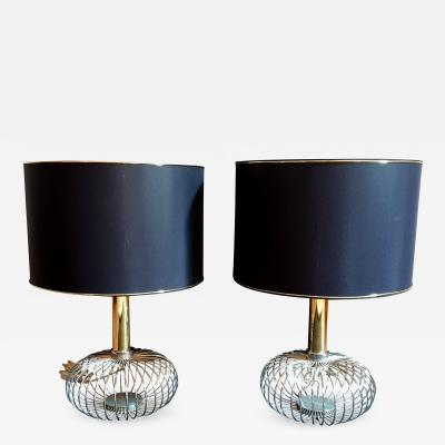 Gaetano Sciolari Pair of Chrome and Brass Mid Century Modern Table Lamps Sciolari Style 1970s