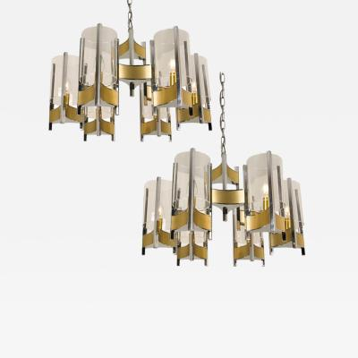 Gaetano Sciolari Pair of Chrome and Glass Chandeliers by Gaetano Sciolari 1960s
