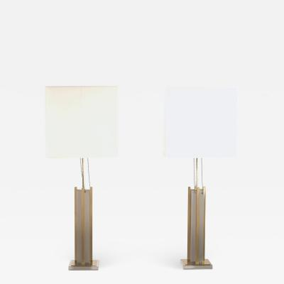 Gaetano Sciolari Pair of Italian Gaetano Sciolari brass and chrome lamps 1970s