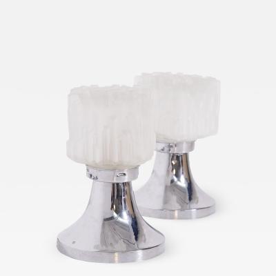 Gaetano Sciolari Pair of Table Lamps by Gaetano Sciolari in Satin Glass and Chrome Metal