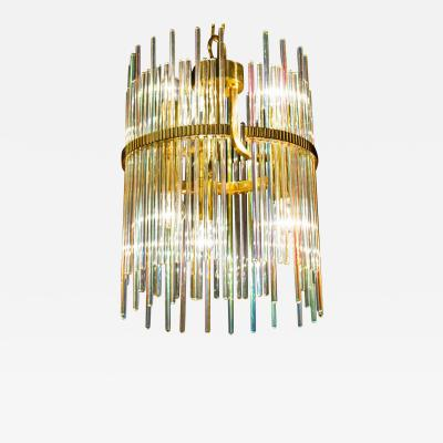 Gaetano Sciolari Rainbow Crystal Rod and Brass Chandelier or Lantern by Gaetano Sciolari 1960s