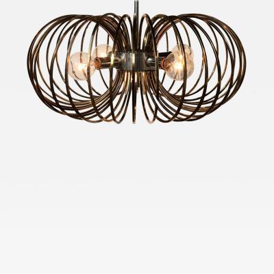 Gaetano Sciolari Sciolari Brass and Chrome Cage Pendant Light by Lightolier