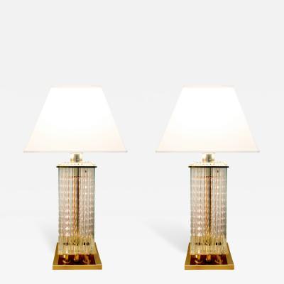 Gaetano Sciolari Sciolari Chic Pair of Table Lamps with Suspended Glass Rods 1970s