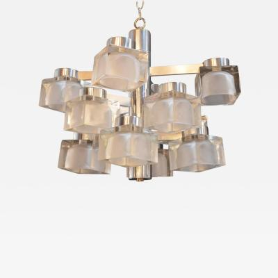 Gaetano Sciolari Sciolari Chrome and Frosted Glass Chandelier