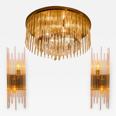 Gaetano Sciolari Set of Three Sciolari Glass Rod Waterfall Light Fixtures for Lightolier Italy