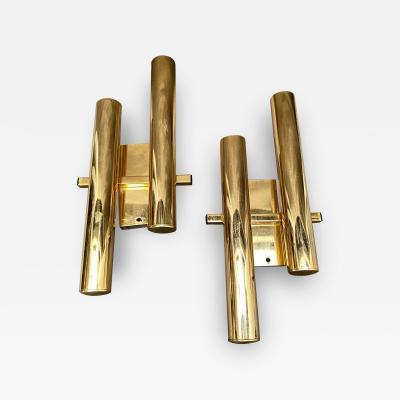 Gaetano Sciolari Set of Two Mid Century Modern Brass Wall Sconces by Gaetano Sciolari circa 1960