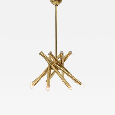 Gaetano Sciolari Tubular Chandelier in the Manner of Sciolari c 1970