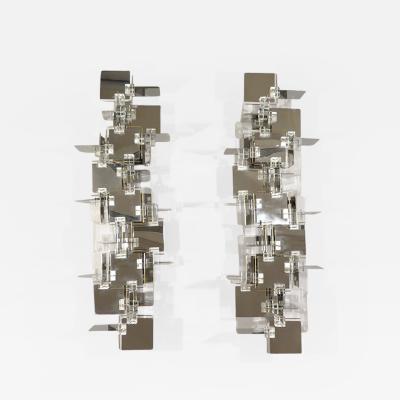 Gaetano Sciolari rare pair of sculptural cubic wall lights in chromed metal brass