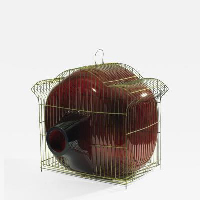 Gala Fern ndez Montero RED CAGE PAGODA glass object vase vessel