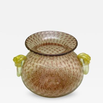 Gambaro Poggi Blown Murano Glass Vessel with Fused Gold Lions Head Rings