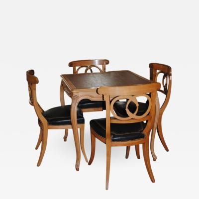 Game Table and set of Four Italian Klismos Chairs