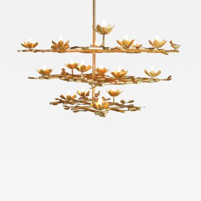 Garden Chandelier with Gold Finish