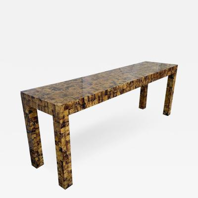 Garrison Rousseau Tiled Bone Parsons Console Table by Garrison Rousseau
