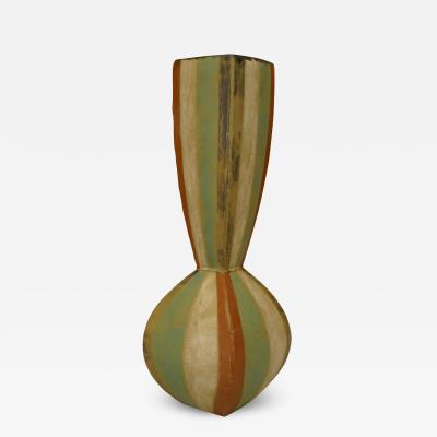 Gary DiPasquale American Post War Design Glazed Ceramic Small Roman Vertical Striped Vase