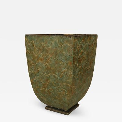 Gary DiPasquale Large Glazed Ceramic Green Textured Square Tapered Jardiniere