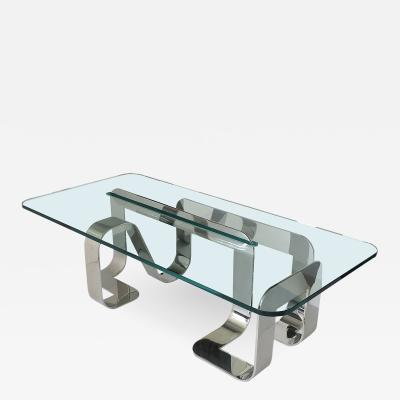 Gary Gutterman Rare Sculptural Polished Steel Jason Coffee Table by Gary Gutterman