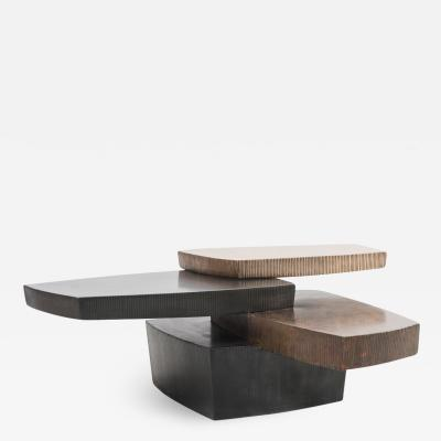Gary Magakis Gary Magakis Bronze and Steel Stacked Low Table with Drawer USA
