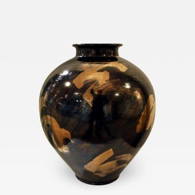 Gary McCloy Gary McCloy Ceramic Vase with Gunmetal and Gold Glazes 1980s