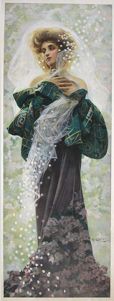 Gaspar Camps Spring A French Art Nouveau Period Decorative Panel by Gaspar Camps 1907