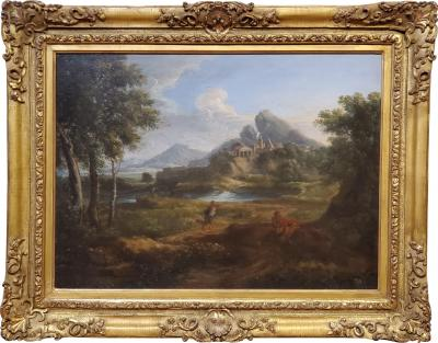 Gaspard Dughet 17th Century Oil Painting of a Roman Landscape Attributed to Gaspard Dughet