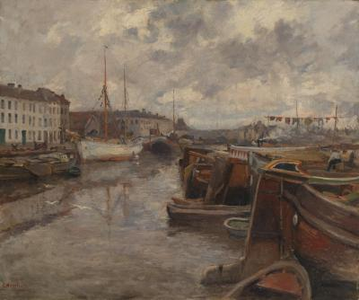 Gaston Haustraete Gaston Haustraete 1878 1949 Harbor View Oil on Canvas Framed and Signed