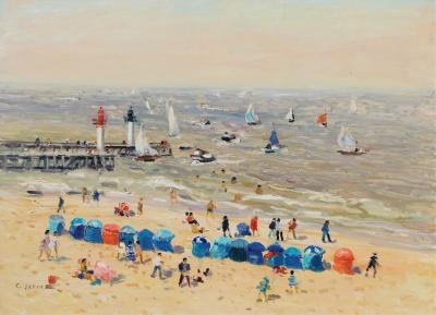 Gaston Sebire La plage a Trouville