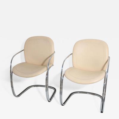 Gastone Rinaldi Two Italian Leather and Chrome Chairs by Gastone Rinaldi for RIMA circa 1970s