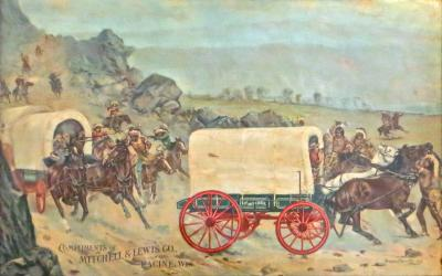 Gean Smith Mitchell Lewis Covered Wagon Advertising Lithograph American Circa 1901