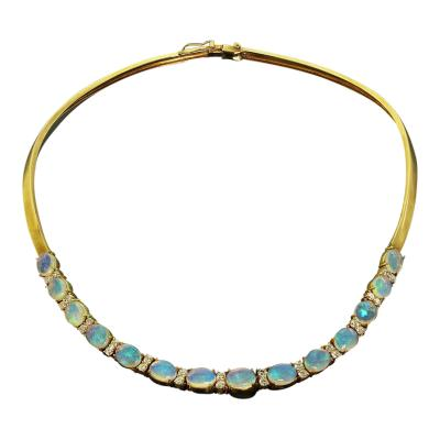 Gemjunky 18K Yellow Gold Opal and Diamond Necklace