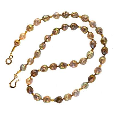 Gemjunky 28 Inch Multi Tone Wrinkle Pearl Necklace