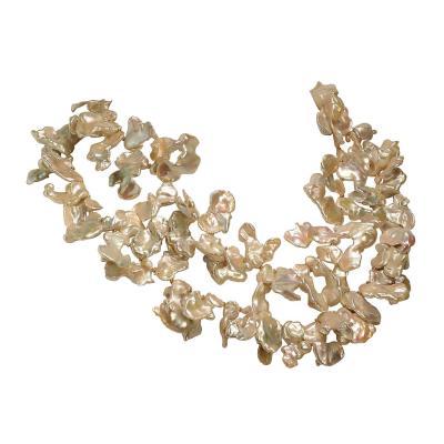 Gemjunky 40 Inch Elegant White Keshi Pearl Necklace