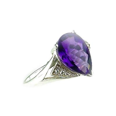 Gemjunky Amethyst Pear Shape in Sterling Silver Ring February Birthstone