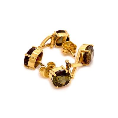 Gemjunky Andalusite and 18K Yellow Gold post Earrings