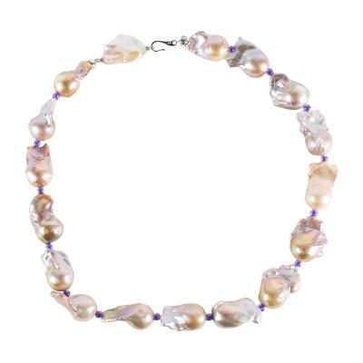 Gemjunky Baroque Pearl Necklace Silver Mauve