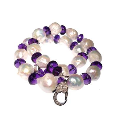 Gemjunky Baroque Pearl and Amethyst Necklace
