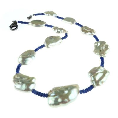 Gemjunky Blue Sapphire and White Pearl Choker Necklace