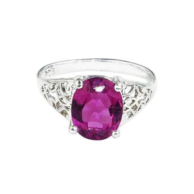 Gemjunky Brazilian Pink Rubelite in Sterling Silver Ring
